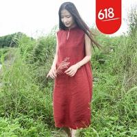 魅儿文艺原创棉麻女装夏季新款民族风印花亚麻无袖打底连衣裙GH12401 红色