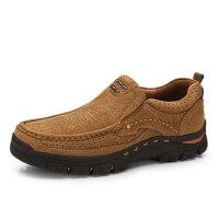 骆驼牌男鞋 秋季新品便捷套脚舒适休闲男鞋牛皮缝线低帮鞋