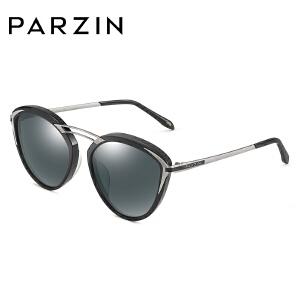 帕森偏光太阳镜 女士猫眼镂空横梁板材潮墨镜驾驶镜 时尚9755