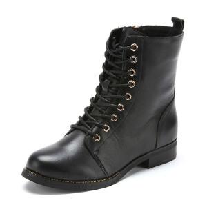【3折到手价149.7元】星期六ST&SAT牛皮圆头低跟系带交叉绑带深口女鞋SS44112302