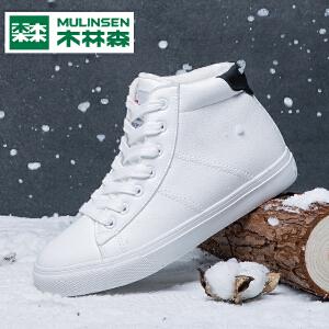 木林森冬季新款棉鞋平底鞋系带简约短靴加绒防水雪地靴女