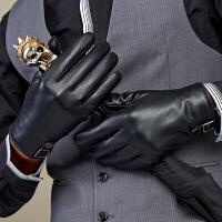 皮手套 男 冬季 羊皮真皮手套保暖骑车开车触屏薄款加绒手套