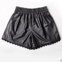 新款高腰pu皮短裤时尚外搭女皮裤黑色哑光松紧腰蕾丝花边   可礼品卡支付
