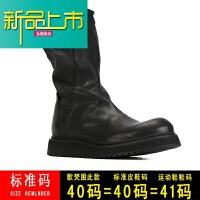 新品上市马丁靴男高帮冬季新款真皮圆头皮靴厚底套脚防水中筒男靴潮靴