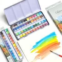 Marco/马可固体水彩颜料24色学生成人美术绘画用初学者Raffine系列48色固态水彩分装粉格便携式铁盒装A790