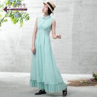 生活在左2019夏季新款女装无袖气质名媛亚麻拼真丝连衣裙长裙宽松