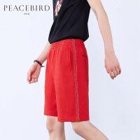 太平鸟男装 夏季红色五分裤休闲时尚针织中短裤