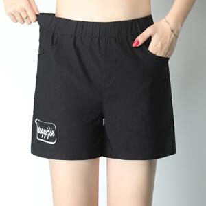 卡茗语松紧腰高腰短裤女夏季棉麻女裤子特大码女装胖妹妹热裤亚麻直筒裤