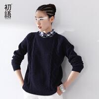 初语春季新款  格纹拼接翻领假两件式麻花织纹宽松长袖毛衣女8630323803