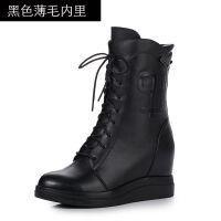 秋冬新款中筒靴内增高女鞋坡跟厚底防水台雪地靴女马丁靴系带