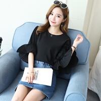 夏季女装韩版灯笼袖蕾丝上衣宽松大码打底衬衫短袖雪纺衫女