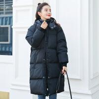孕妇棉衣冬装套装时尚款2018新款孕妇羽绒服中长款外套棉袄潮 黑色 M