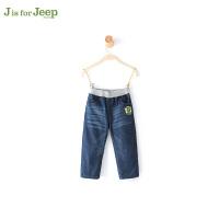 JEEP/吉普童装 男童休闲牛仔夹裤中小儿童直筒长裤子冬新