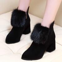 【跟高6cm】绒面粗跟短靴毛毛女靴秋冬季中跟加绒短筒高跟时装靴 黑色
