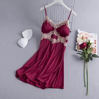 性感睡衣女吊带睡裙夏季薄款胸垫冰丝露背蕾丝情趣诱惑家居服
