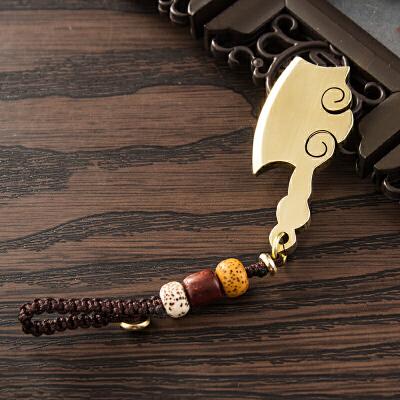 【财到】祈福黄铜钥匙扣钥匙链挂件钥匙圈环菜刀斧锁匙扣