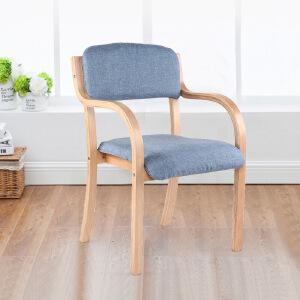 未蓝生活餐椅书房椅现代简约单人椅带扶手靠背软包木椅