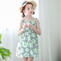夏新品韩版童装女童吊带裙儿童沙滩裙花朵裙子