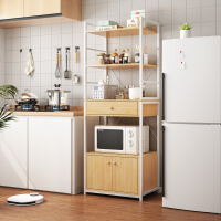 【爆款】厨房置物架落地多层家用调料收纳架台面双层烤箱微波炉架子置物架