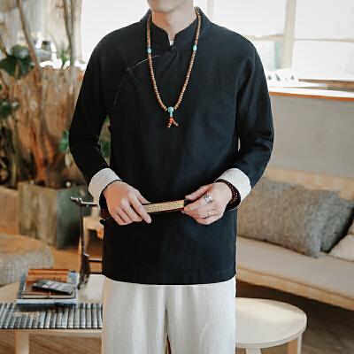春装新品中国风棉麻衬衫男盘扣立领男款纯色衬衫男装大码汉服 一般在付款后3-90天左右发货,具体发货时间请以与客服协商的时间为准