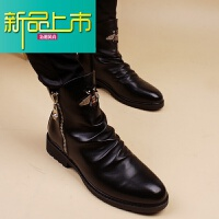 新品上市冬季新 韩版男士皮靴 潮流短靴男机车马丁靴个性时尚内增高高帮鞋