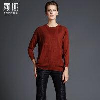 颜域品牌女装2017冬装新款欧美时尚通勤OL纯色长袖圆领H型羊毛衣