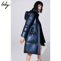 【2件4折价:487.6元】 Lily秋冬新款女装大廓形金属感蓝直筒中长款羽绒服118440D1513