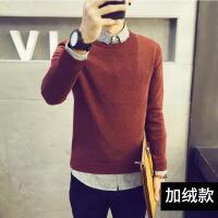 毛衣男韩版潮流个性圆领加绒加厚线衣男士针织衫修身型长袖秋冬季 酒