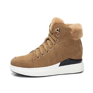 camel/骆驼女鞋 秋冬新款 羊羔毛系带内增高单鞋保暖休闲平跟高帮鞋