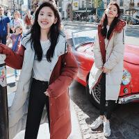 两面穿女中长款2018冬季新款韩版宽松学生bf棉袄羽绒棉衣外套 米白+砖红(双面穿) S