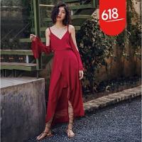 原创夏季海岛度假沙滩裙红色拍照长裙修身性感露肩吊带雪纺开叉连衣裙GH04 酒红