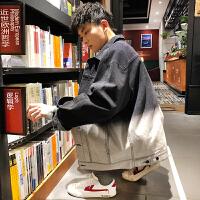 【1折价68元】唐狮春季新款渐变牛仔外套男黑色工装夹克韩版百搭帅气衣服潮
