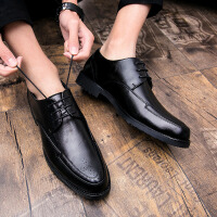 夏季皮鞋男韩版尖头英伦透气男士百搭休闲商务内增高发型师鞋子潮 B款 黑色