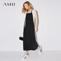 【AMII 超级品牌日】Amii[极简主义]2017夏装新款宽松调节吊带纽扣贴袋连衣裙11772905
