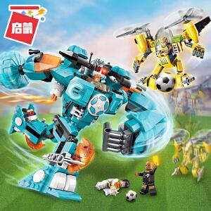 启蒙积木机甲机器人6男孩拼装模型世纪足球8儿童玩具防线告急3006
