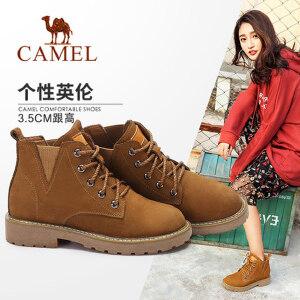 Camel/骆驼女鞋 2017秋冬新款 个性复古风中跟短筒靴简约系带靴