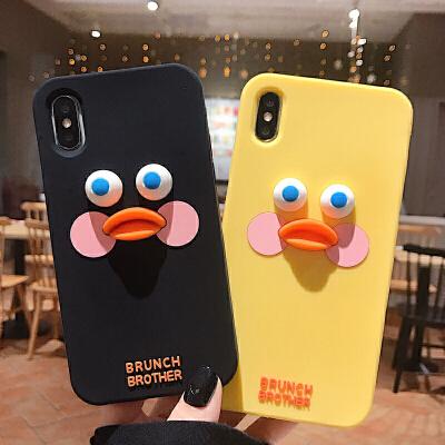 硅胶卡通鸭8plus苹果x手机壳XS Max/XR/iPhoneX/7p/6女iphone6s套 6/6S 硅胶 玻尿酸鸭黑