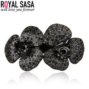 皇家莎莎双花朵人造水晶发夹 韩版马尾夹头饰发饰品弹簧夹盘发卡子07SP153