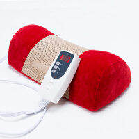 多功能曲度颈枕颈椎按摩枕头器按摩仪牵引器家用 红色 仪器1台3个热敷垫