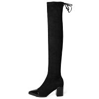 过膝靴女高跟2018秋冬新款黑色性感弹力粗跟绑带小个子高筒靴 黑色