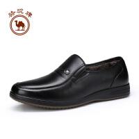 骆驼牌男鞋  冬季舒适柔软男皮鞋套脚简约加绒保暖休闲鞋