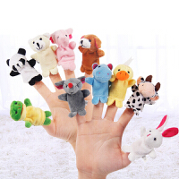 动物手指玩偶玩具手偶嘴巴能动儿童腹语手套布偶木偶卡通兔子手指玩偶毛绒娃娃
