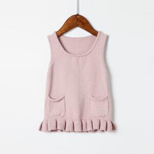 全织时代童装女童秋装2017新款0-3岁女宝宝儿童荷叶边毛衣背心裙