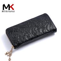 莫尔克(MERKEL)新款女式牛皮手包时尚印花拉链女式手抓包手机钱包休闲女皮夹包零钱包