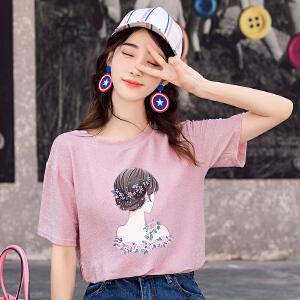 大码t恤女夏装上衣韩版宽松休闲t恤女夏装半袖
