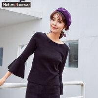 美特斯邦威毛衣女春秋冬装新款韩版修身甜美喇叭袖针织线衫潮