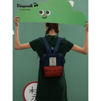 VANWALK迷你双肩包女日系可爱高中学生书包纯色韩版手提出走背包