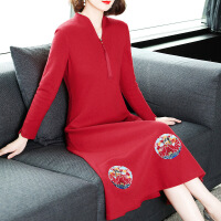 羊毛绒连衣裙冬装女2018新款气质中长款红色喜庆秋冬毛呢打底裙子