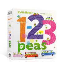 进口英文原版绘本1-2-3 Peas 1,2,3数豆豆 儿童英语启蒙学数字纸板书 亲子共读趣味读物图文书2-6岁低幼儿