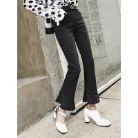 七格格微喇裤女新款加绒加厚显瘦韩版黑色高腰冬季装牛仔裤子